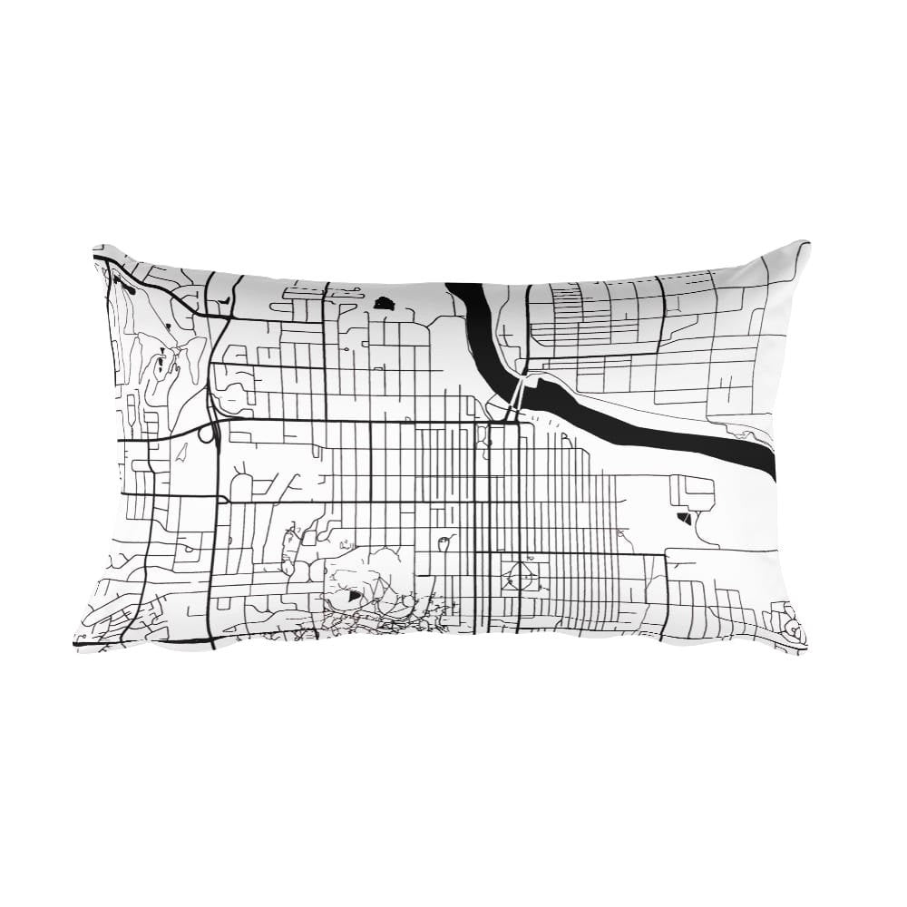 Lawrence black and white throw pillow with city map print 12x20