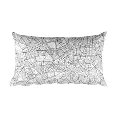 London black and white throw pillow with city map print 12x20