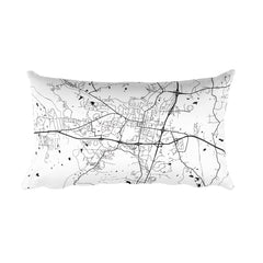 Oxford MS black and white throw pillow with city map print 12x20