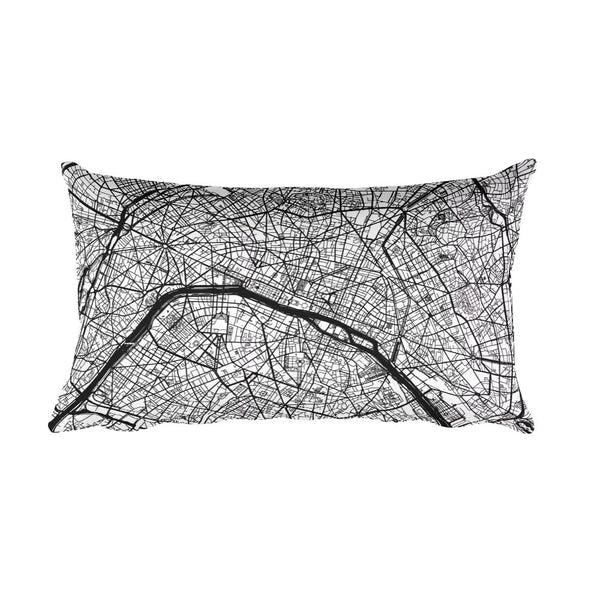 Paris France black and white throw pillow with city map print 12x20