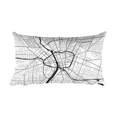 Rochester black and white throw pillow with city map print 12x20