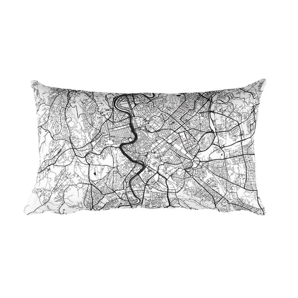 Rome black and white throw pillow with city map print 12x20