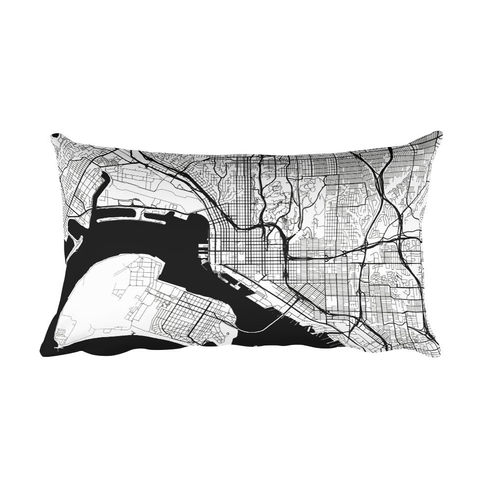 San Diego black and white throw pillow with city map print 12x20
