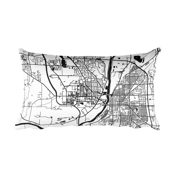 West Lafayette black and white throw pillow with city map print 12x20
