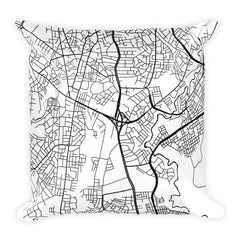 Addis Ababa black and white throw pillow with city map print 18x18
