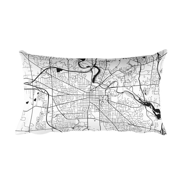 Ann Arbor black and white throw pillow with city map print 12x20