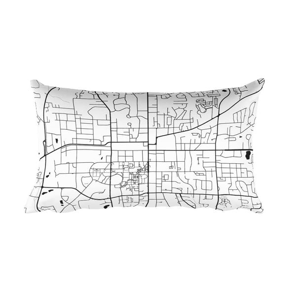 Auburn black and white throw pillow with city map print 12x20