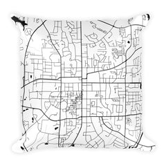 Auburn black and white throw pillow with city map print 18x18
