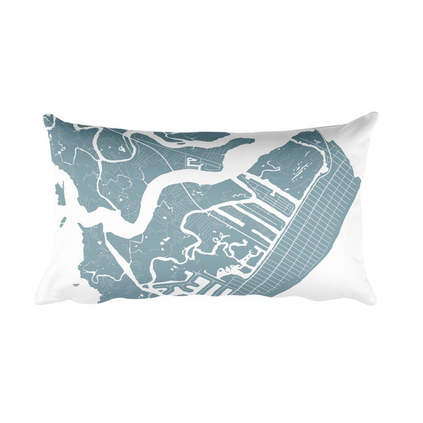 Avalon black and white throw pillow with city map print 12x20