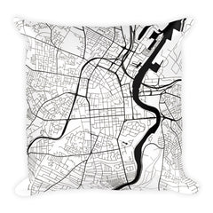 Belfast black and white throw pillow with city map print 18x18