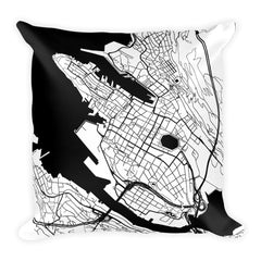 Bergen black and white throw pillow with city map print 18x18