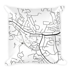 Boone black and white throw pillow with city map print 18x18