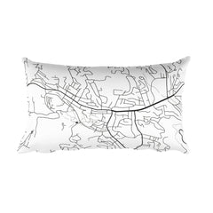 Boone black and white throw pillow with city map print 12x20
