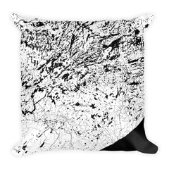 Boundary Waters black and white throw pillow with city map print 18x18