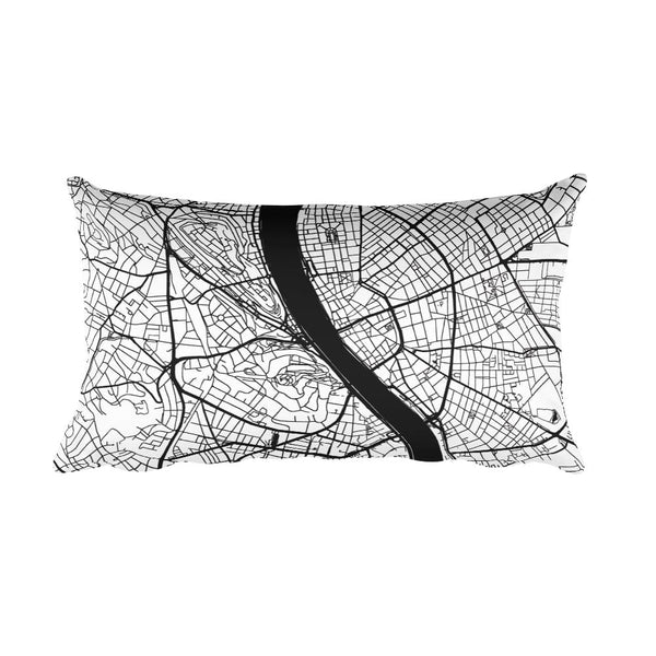 Budapest black and white throw pillow with city map print 12x20