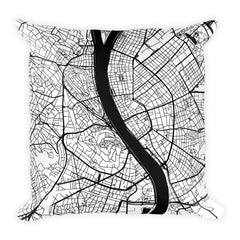 Budapest black and white throw pillow with city map print 18x18
