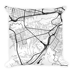 Caracas black and white throw pillow with city map print 18x18