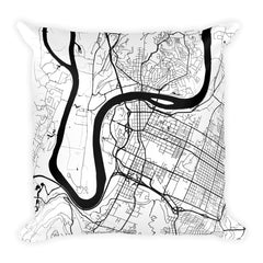 Chattanooga black and white throw pillow with city map print 18x18