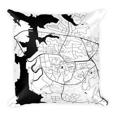 Clemson black and white throw pillow with city map print 18x18