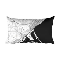 Duluth black and white throw pillow with city map print 12x20