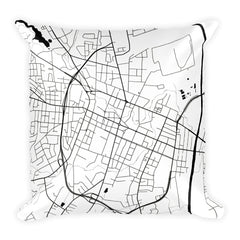 Fayetteville black and white throw pillow with city map print 18x18