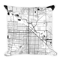 Fort Collins black and white throw pillow with city map print 18x18