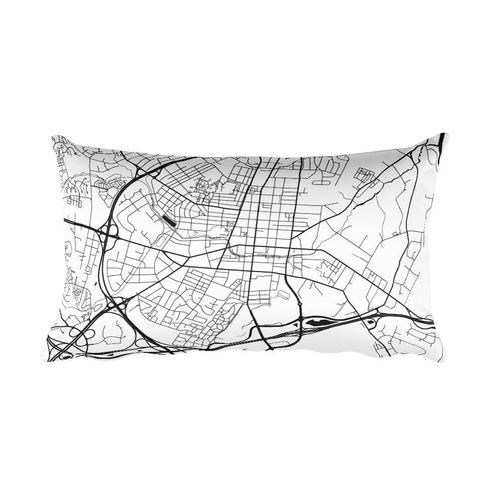 Frederick black and white throw pillow with city map print 12x20