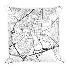 Frederick black and white throw pillow with city map print 18x18