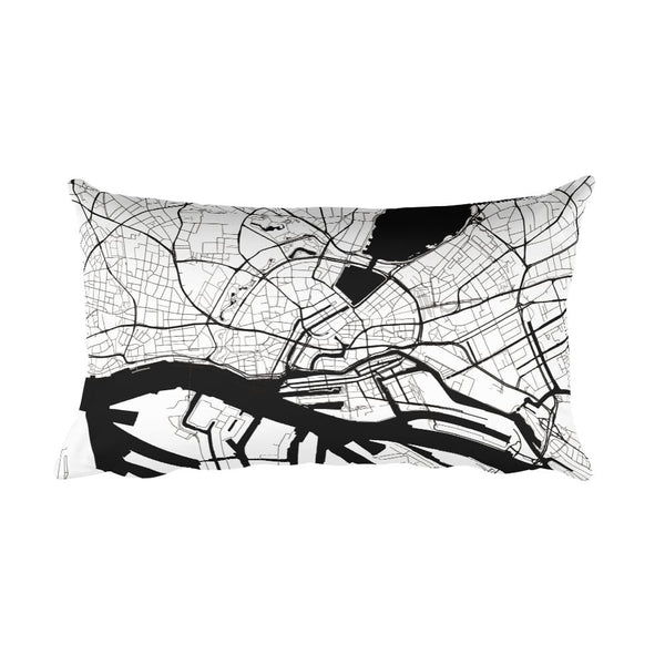Hamburg black and white throw pillow with city map print 12x20