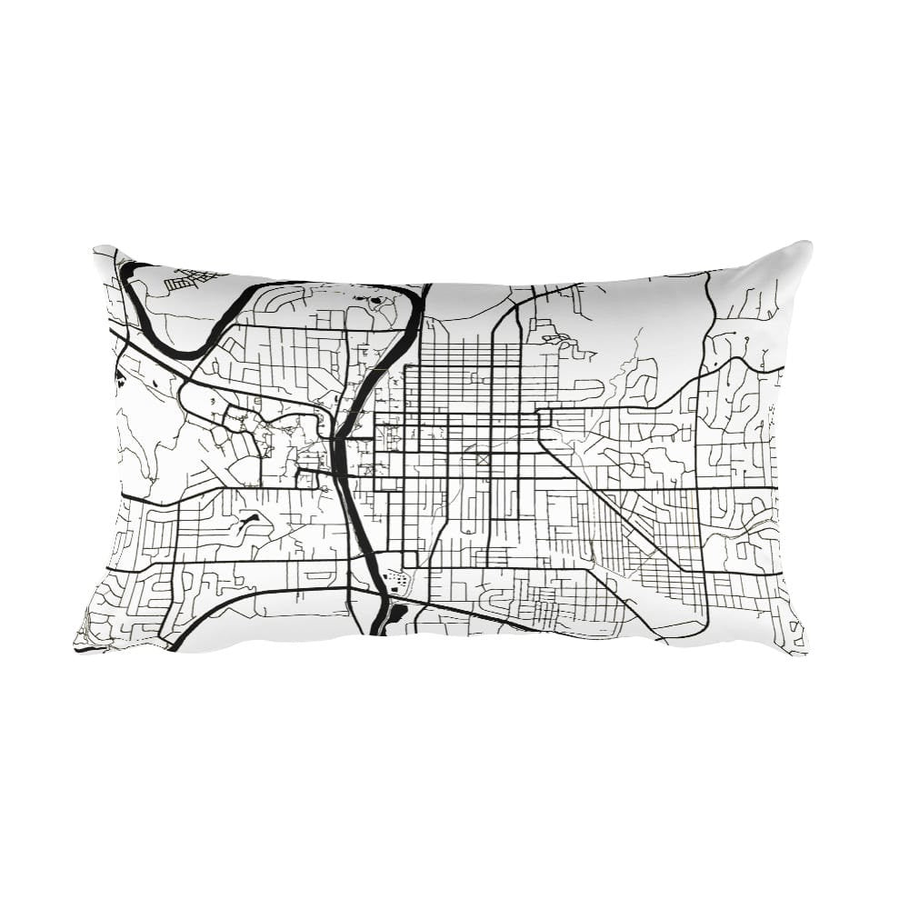 Iowa City black and white throw pillow with city map print 12x20