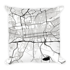 Johannesburg black and white throw pillow with city map print 18x18