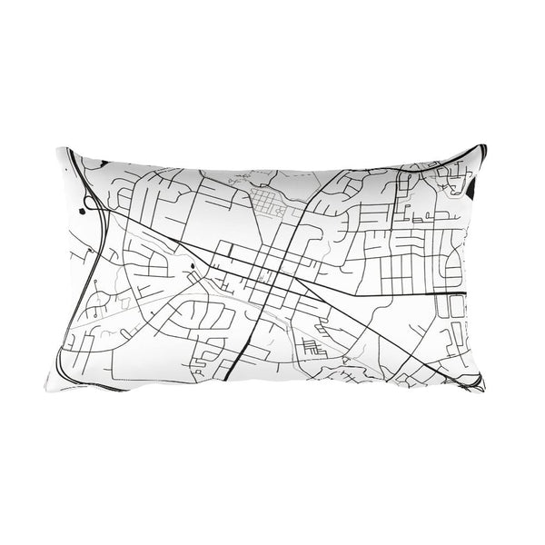 Leesburg black and white throw pillow with city map print 12x20