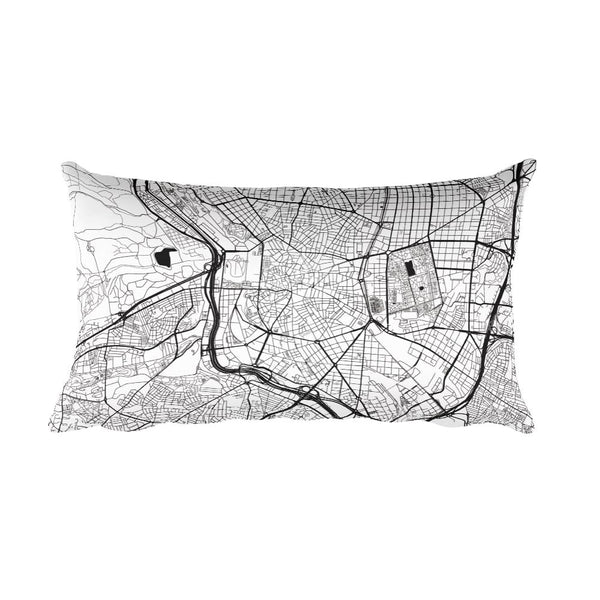 Madrid black and white throw pillow with city map print 12x20