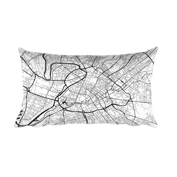 Manchester black and white throw pillow with city map print 12x20