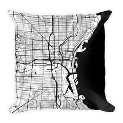 Milwaukee black and white throw pillow with city map print 18x18