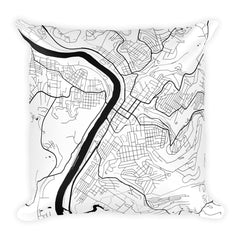 Morgantown black and white throw pillow with city map print 18x18