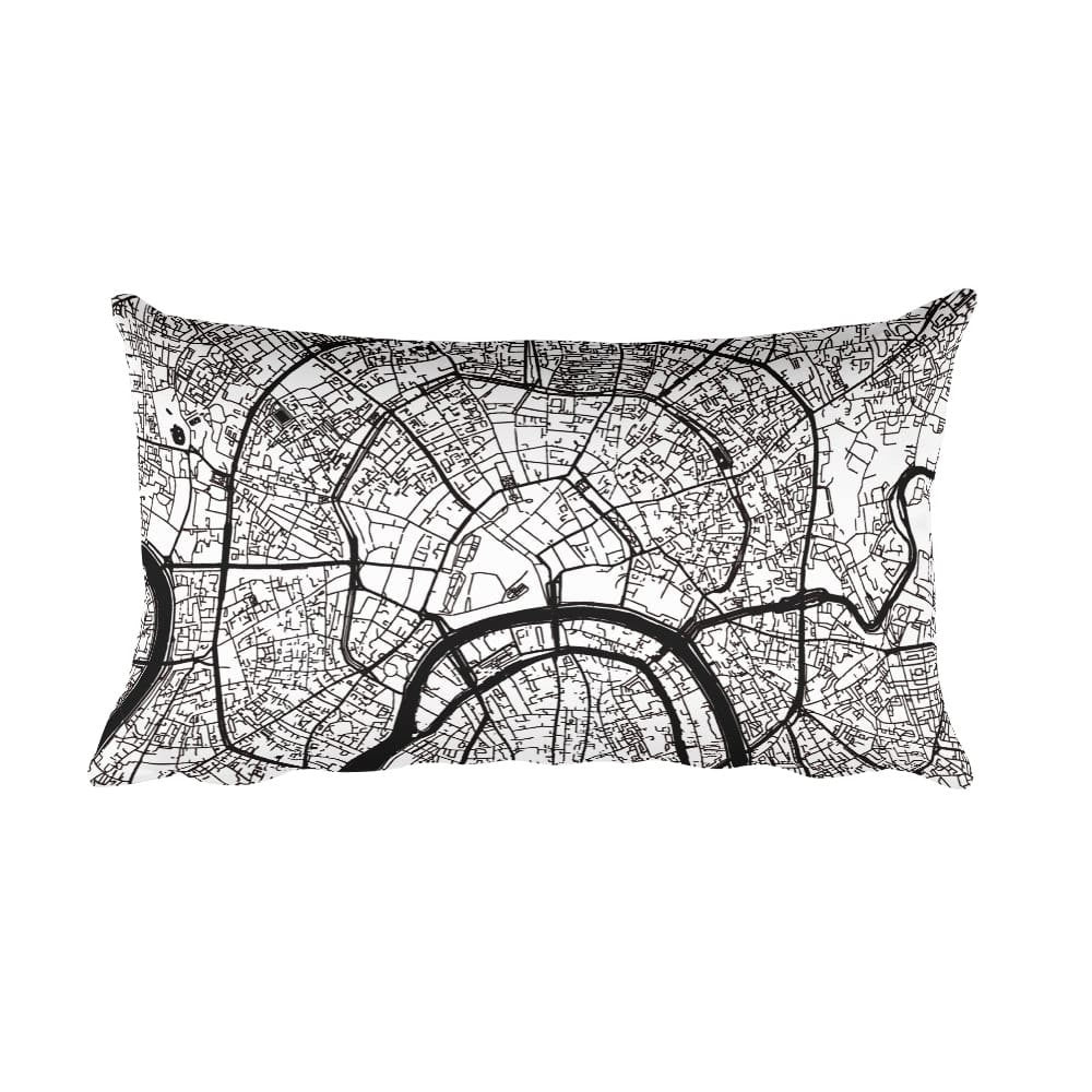 Moscow black and white throw pillow with city map print 12x20