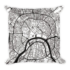 Moscow black and white throw pillow with city map print 18x18