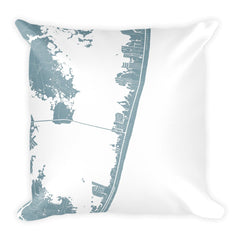 Ocean City black and white throw pillow with city map print 18x18
