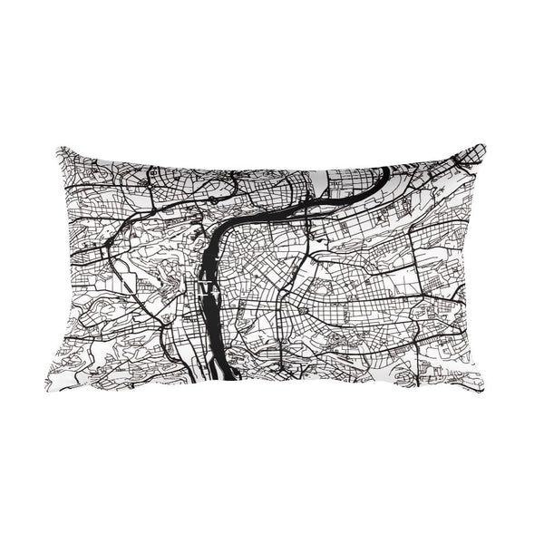 Prague black and white throw pillow with city map print 12x20