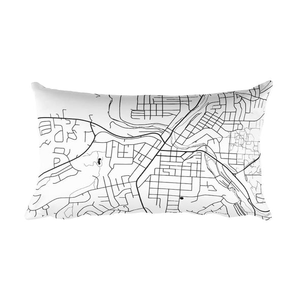 Pullman black and white throw pillow with city map print 12x20
