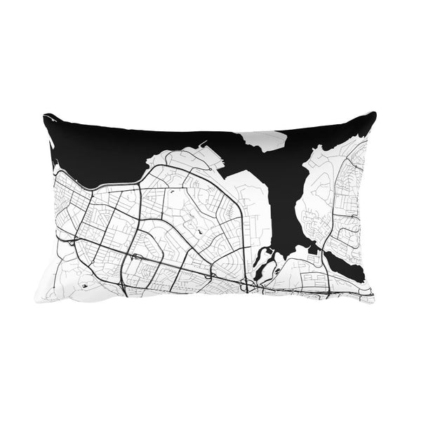 Reykjavik black and white throw pillow with city map print 12x20