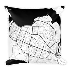 Reykjavik black and white throw pillow with city map print 18x18