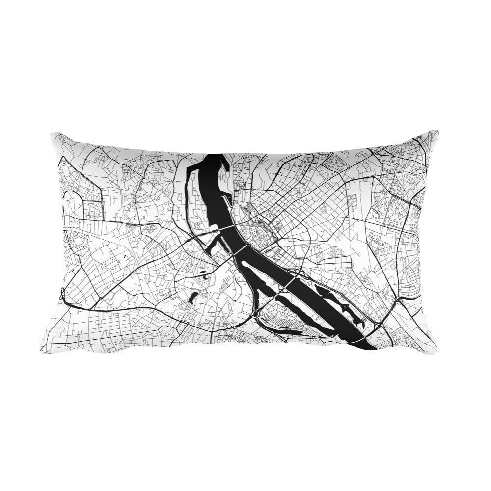 Riga black and white throw pillow with city map print 12x20