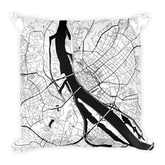 Riga black and white throw pillow with city map print 18x18