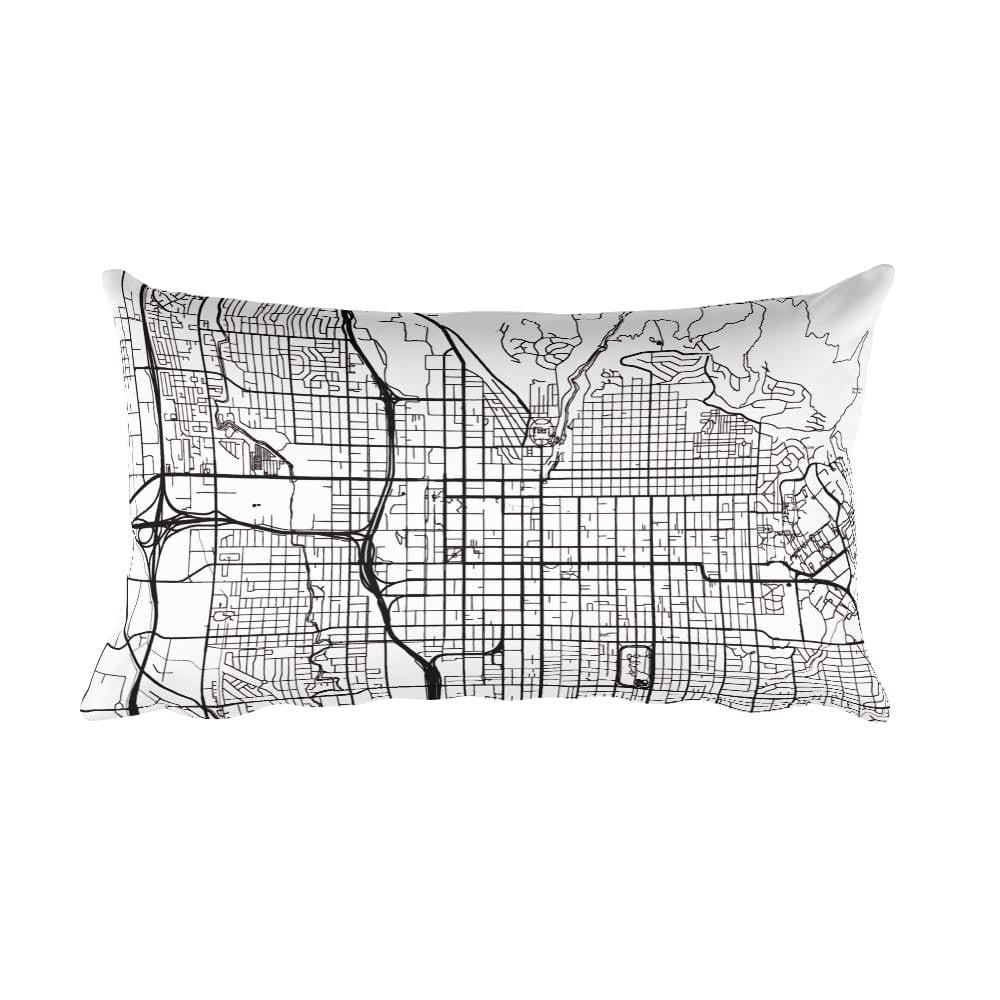 Salt Lake City black and white throw pillow with city map print 12x20