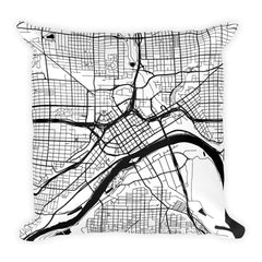 St. Paul black and white throw pillow with city map print 18x18