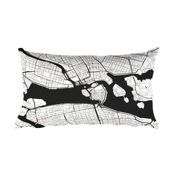 Stockholm black and white throw pillow with city map print 12x20