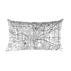 Tallahassee black and white throw pillow with city map print 12x20