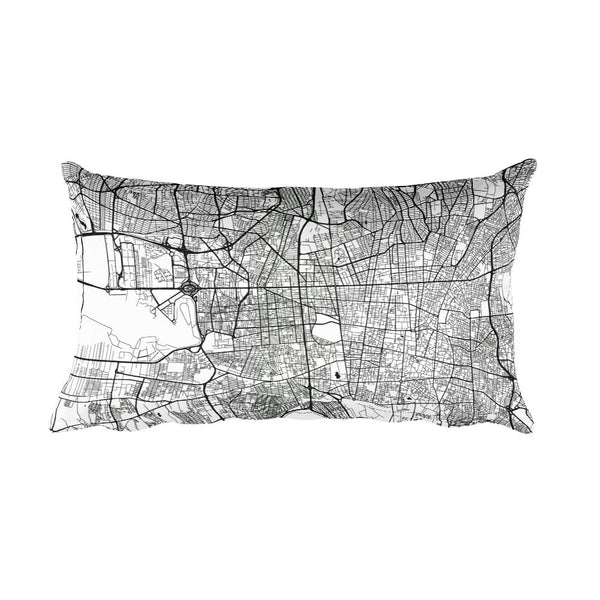 Tehran black and white throw pillow with city map print 12x20